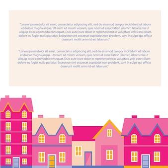 Rimani al sicuro. divertente collezione di case felici, viso kawaii, sorriso, guance rosa, occhi grandi. colori pastello. modello di carta banner per il testo, copia spazio, isolato su sfondo bianco. vettore