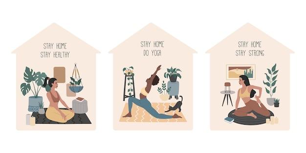 Stai al sicuro, gruppo di ragazze che fanno yoga