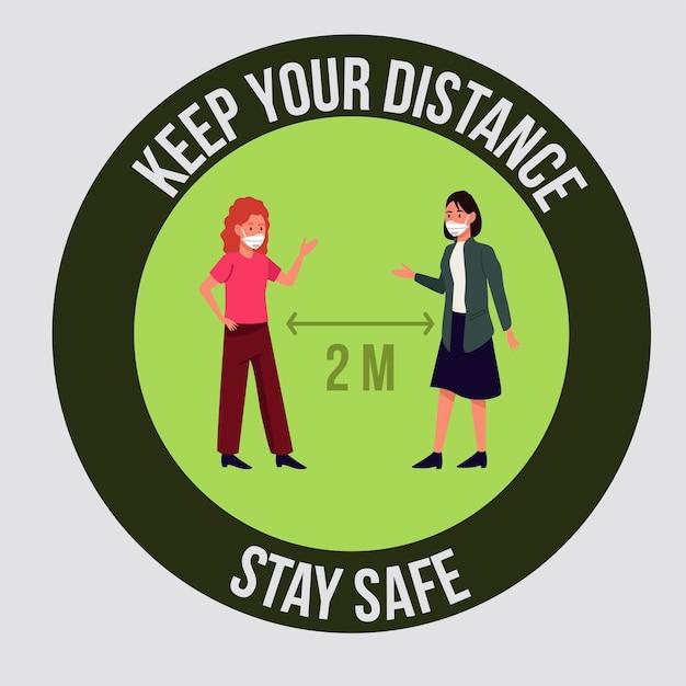 Stai al sicuro e allontana socialmente la campagna di prevenzione covid19
