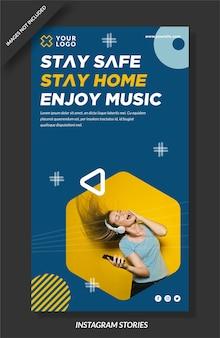 Resta al sicuro, resta a casa, goditi il design di storie di instagram musicali