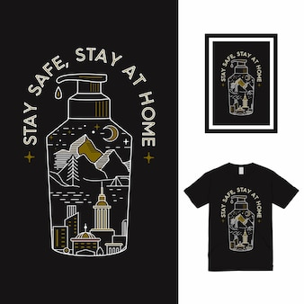 Resta al sicuro stay at home t shirt design