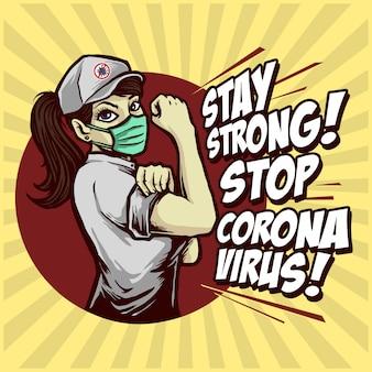 Resta forte, ferma il design del poster del virus corona