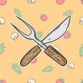 Forchetta bistecca e forchetta coltello su verdura