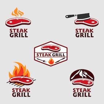 Pacchetto logo grill bistecca