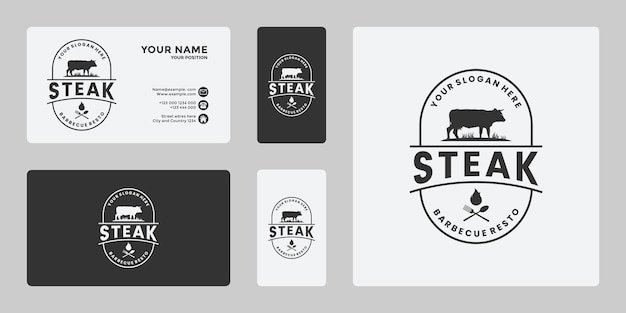 Steak house, bistecca di manzo, logo di carne fresca per ristorante, mucca ranch