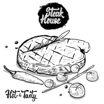 Steak house. bistecca di manzo disegnata a mano con rosmarino, pomodorini, pepe. elementi per menu, poster. illustrazione