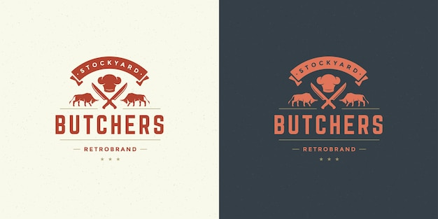 Steak house logo illustrazione vettoriale tori con sagoma di coltelli buono per distintivo di fattoria o ristorante. disegno dell'emblema di tipografia vintage.
