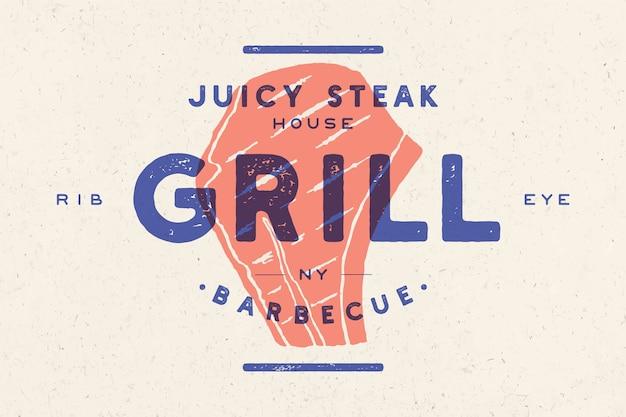 Bistecca, logo, etichetta di carne. logo con sagoma di bistecca, bistecca succosa di testo, grill, barbecue, barbecue, costata.