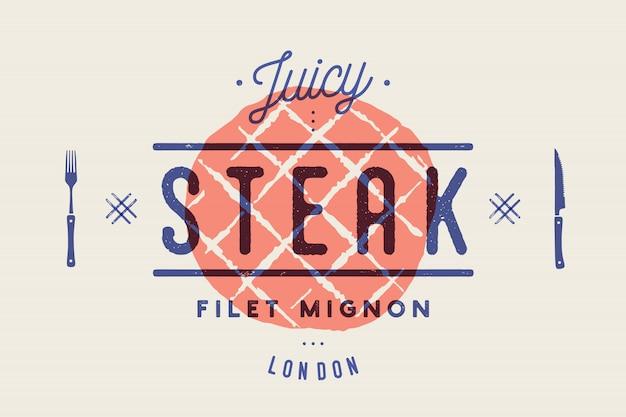 Bistecca, logo, etichetta di carne. logo con sagoma di bistecca