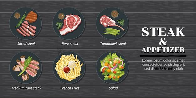 Progettazione stabilita di clipart del grafico di vettore stabilito della raccolta del menu della bistecca