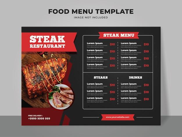 Modello di menu bistecca. menu di cibo per ristorante e caffetteria