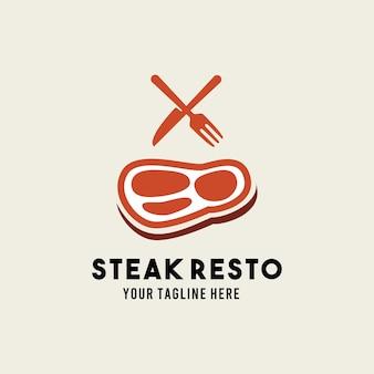 Modello dell'illustrazione del logo di simbolo di design di stile piano del ristorante della bistecca