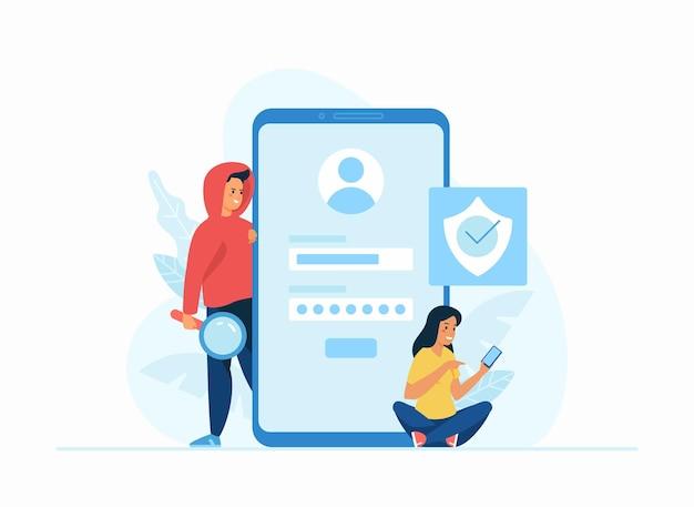 Rubare i dati concetto piatto illustrazione vettoriale. modulo di registrazione online, accedi all'account dei social media. personaggio dei cartoni animati femminile che pensa alla sicurezza. hacker maschio cerca di raccogliere dati personali