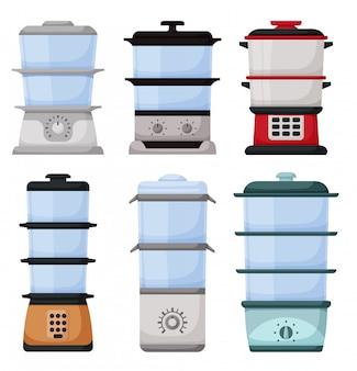 Icona stabilita del fumetto del fornello a vapore. piroscafo illustrazione su sfondo bianco. set di icone fumetto pentola a vapore.