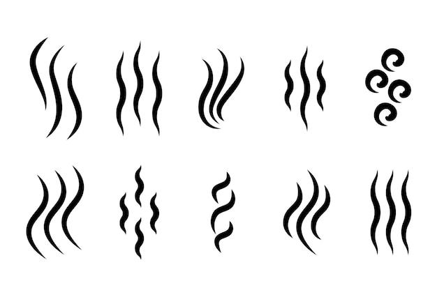 Icona vapore caldo aroma odore logo vecor grill caffè vapore aroma ricciolo simbolo Vettore Premium