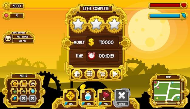 Interfaccia di steampunk game Vettore Premium