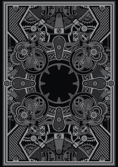 Il modello di poster steampunk è applicabile per l'uso sul design della camicia