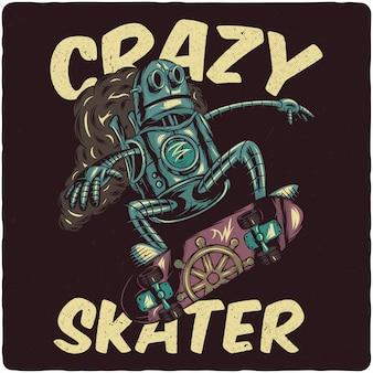 Robot steampunk in sella a uno skateboard