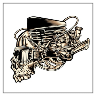 Illustrazione del cranio di steampunk