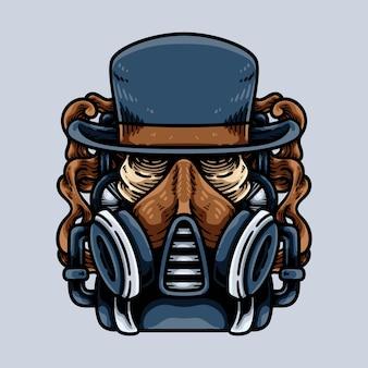 Teschio steampunk con maschera antigas