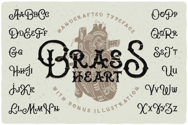 Set di caratteri stile steampunk con disegno a cuore Vettore Premium