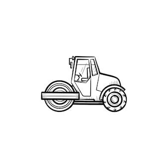 Icona di doodle di contorno disegnato a mano di steamroller. macchine edili - illustrazione di schizzo vettoriale rullo compressore per stampa, web, mobile e infografica isolato su priorità bassa bianca.