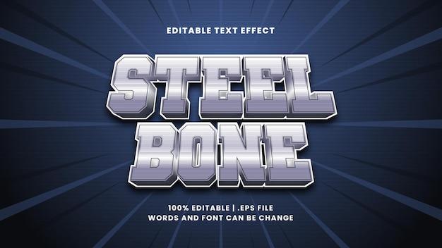 Effetto di testo modificabile in osso d'acciaio in moderno stile 3d