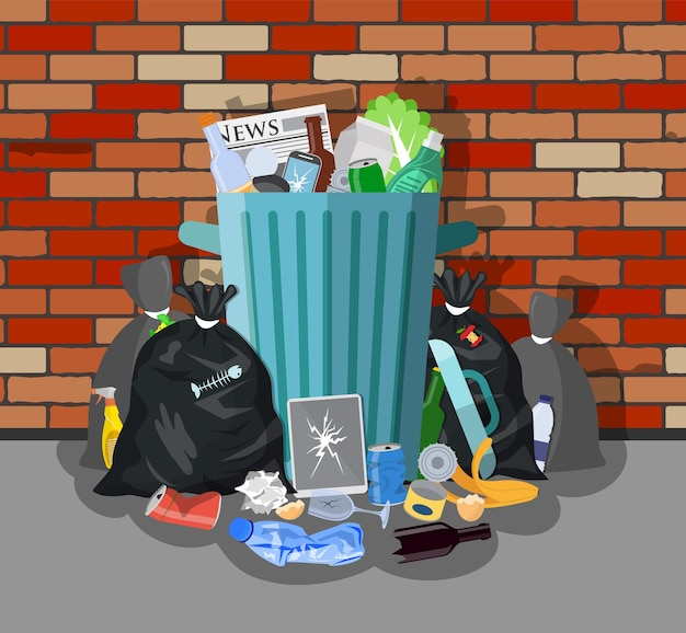 Bidone della spazzatura in acciaio pieno di spazzatura