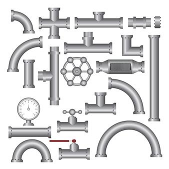 Illustrazione degli accessori per tubi d'acciaio isolata su bianco