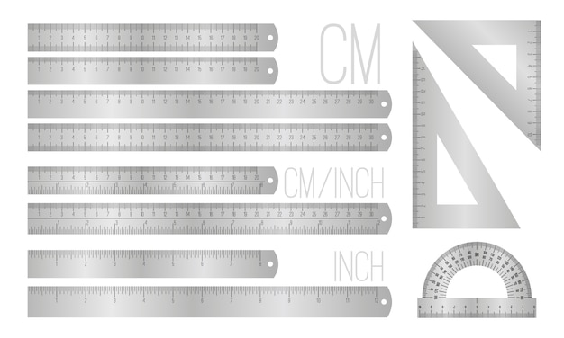 Linee righello in acciaio Vettore Premium