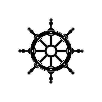 Volante capitano barca nave yacht bussola trasporto logo design ispirazione