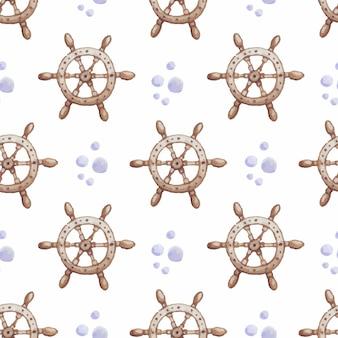 Volante di una nave acquerello seamless vector pattern