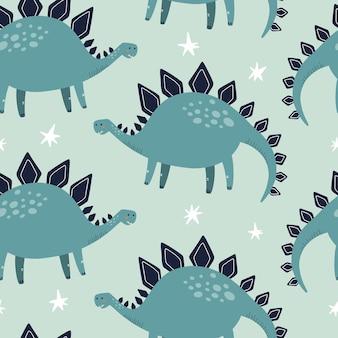 Modello senza cuciture dino stegosauro. illustrazione vettoriale disegnata a mano per tessuto o packaging design.