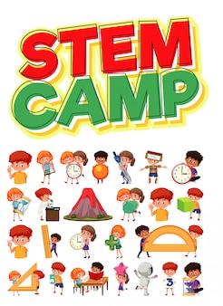 Logo dell'accampamento del gambo e insieme dei bambini con gli oggetti di istruzione isolati