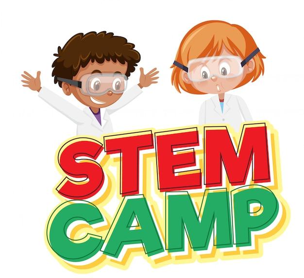 Logo dell'accampamento del gambo e due bambini che portano il costume dello scienziato isolato