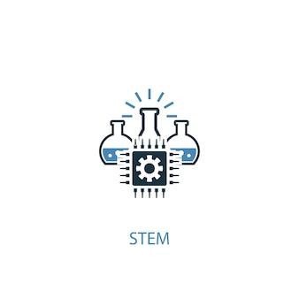 Stem concept 2 icona colorata. illustrazione semplice dell'elemento blu. disegno di simbolo del concetto di stelo. può essere utilizzato per ui/ux mobile e web
