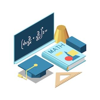 Composizione del concetto isometrico di istruzione del gambo con le formule della lavagna del libro di matematica e l'illustrazione del cappello accademico