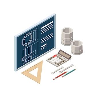 Composizione del concetto isometrico di istruzione del gambo con le immagini della parte e modello con l'illustrazione degli strumenti di disegno