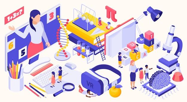 Istruzione stem isometrica con icone scientifiche e diversi dispositivi moderni