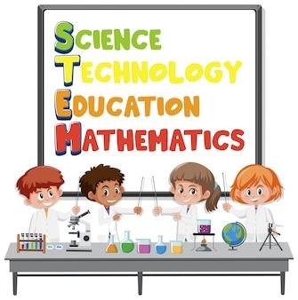 Logo di educazione dello stelo con bambini che indossano il costume da scienziato