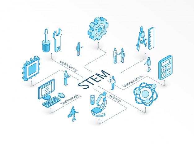 Concetto isometrico stem. sistema di progettazione infografica integrato. persone lavoro di squadra. simboli di scienza, tecnologia, ingegneria, matematica. studio di matematica, educazione, apprendimento del pittogramma