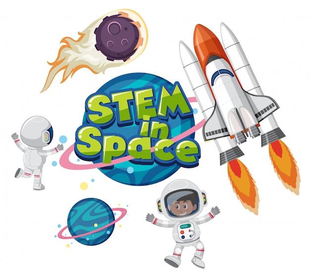 Stem in space logo con oggetti spaziali isolati