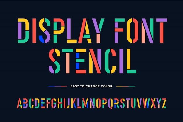 Carattere stencil. alfabeto e font condensati colorati