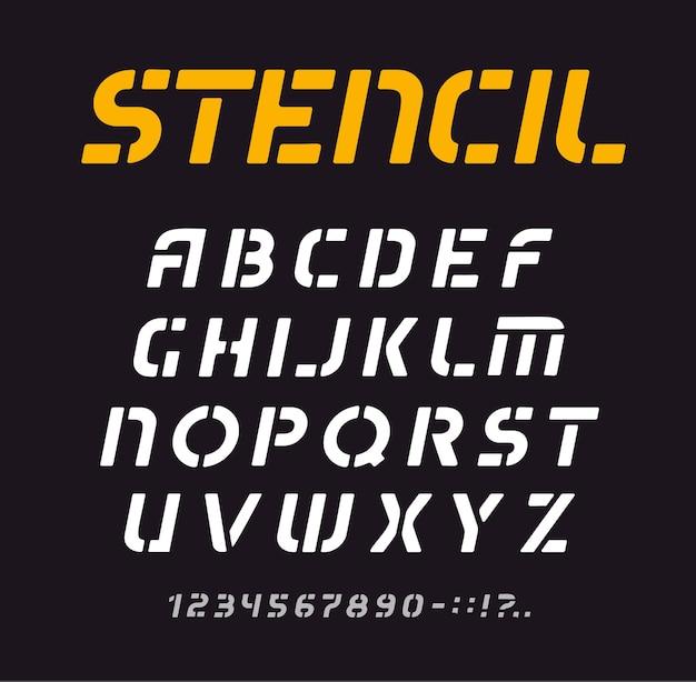 Carattere stencil, alfabeto geometrico, raccolta di lettere minime, modello di carattere tipografico di graffiti.