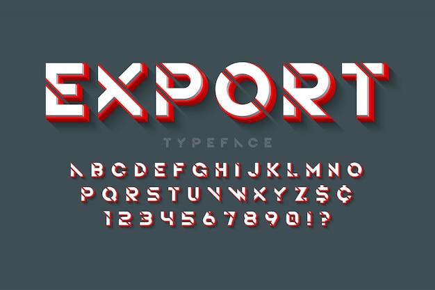 Stencil futuristico alfabeto fantascientifico, set di caratteri creativi