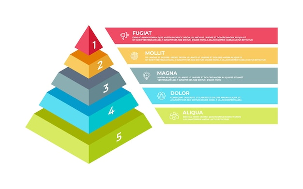 Step infografica 3d. modello di presentazione aziendale piramide isometrica, struttura a gradini. elementi di tecnologie di pianificazione di illustrazione vettoriale