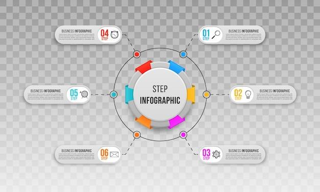 Modello di infografica aziendale passo passo per il diagramma di flusso dei siti web di presentazioni aziendali
