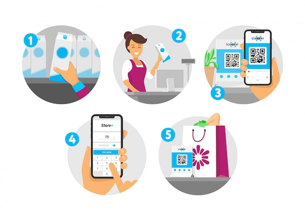 Istruzioni passo passo per l'acquisto e il pagamento del codice qr. acquisto in negozio e pagamento tramite smartphone. illustrazione isometrica in stile.