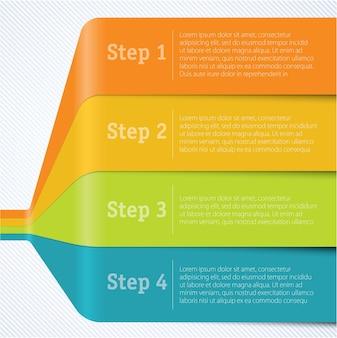 Modello di infografica nastro arcobaleno passo dopo passo