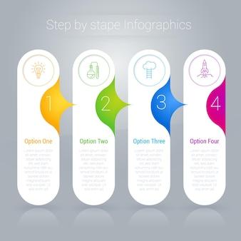 Modello di infografica nastro arcobaleno passo dopo passo.
